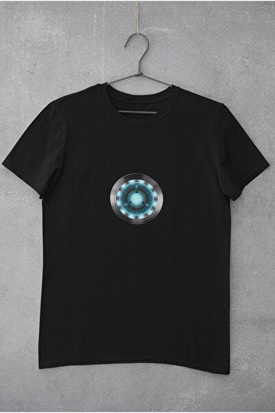 Kio Tişört Film Erkek Siyah Marvel Iron Man Karakter Arc Reaktör2 Baskılı Tişört