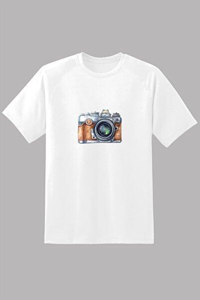 Kio Tişört Nostalji Kadın Beyaz Eski Retro Analog Fotoğraf Makinası Baskılı %100 Pamuk Vintage2  Tişört Kadın