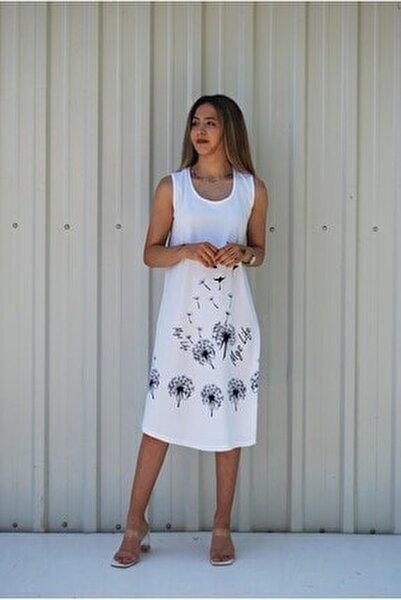 Kadın Beyaz Kolsuz Kuş Baskılı Büyük Beden Elbise