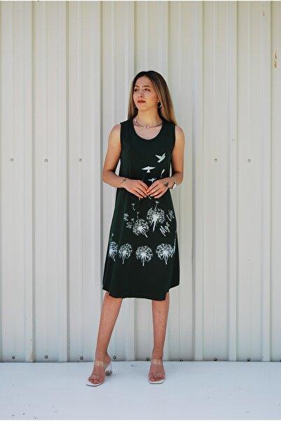 MGS LİFE Kadın Haki Kolsuz Kuş Baskılı Büyük Beden Elbise