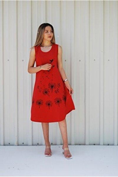 Kadın Kırmızı Kolsuz Kuş Baskılı Büyük Beden Elbise