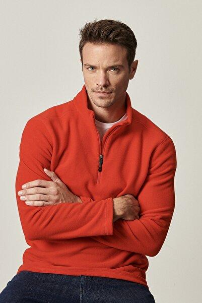 AC&Co / Altınyıldız Classics Erkek Kırmızı Standart Fit Günlük Rahat Fermuarlı Bato Yaka Spor Polar Sweatshirt