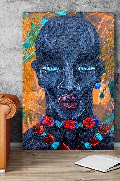 GIFTDECO 150x100cm Mavi Insan Silueti Portre Dev Büyük Boy Kanvas Tablo