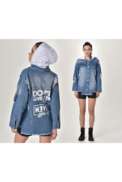 HaticeS Kadın Baskılı Kot Ceket