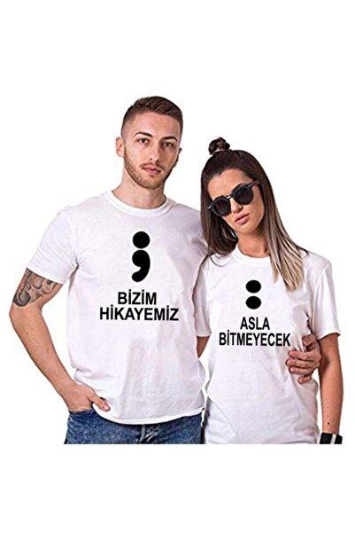 gold fotoğrafçılık Unisex Beyaz Sevgili Tişörtleri Çift Kombin Bizim Hikayemiz Tshirt 2 Adet