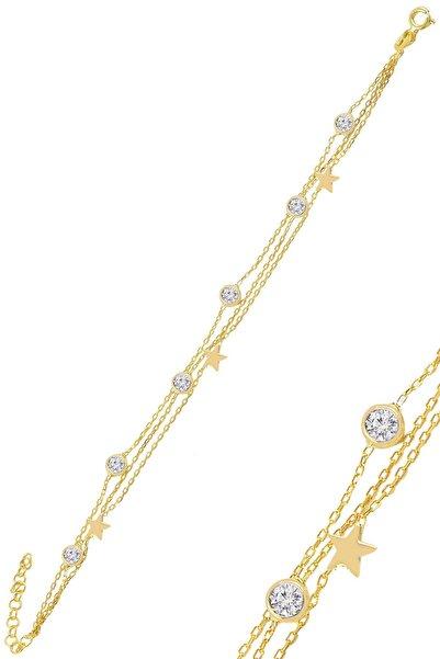 Söğütlü Silver Gümüş Altın Yaldızlı Zirkon Taşlı Yıldız Figürlü Bileklik