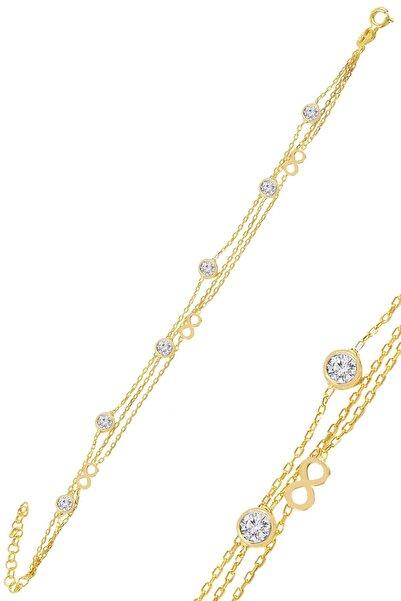 Söğütlü Silver Gümüş Altın Yaldızlı Zirkon Taşlı Sonsuz Figürlü Bileklik