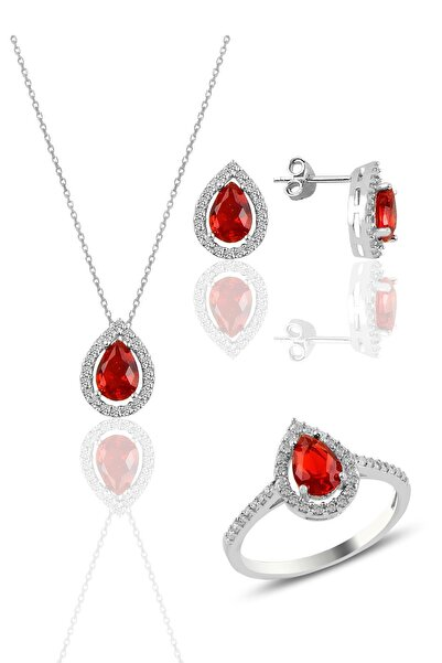 Söğütlü Silver Gümüş Rodyumlu Kırmızı Taşlı Damla Modeli Üçlü Set