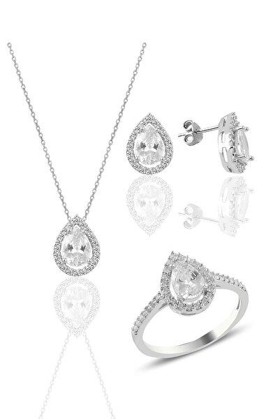 Söğütlü Silver Gümüş Rodyumlu Zirkon Taşlı Damla Modeli Üçlü Set