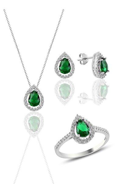 Söğütlü Silver Gümüş Rodyumlu Kök Zümrüt Taşlı Damla Modeli Üçlü Set