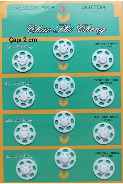 Bemsa Çıtçıt Düğme Plastik Çapı 2,0 Cm.beyaz Renk.1 Paket 12 Adet