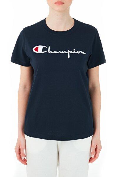 Champion Kadın Lacivert Logo Baskılı Bisiklet Yaka T-Shirt