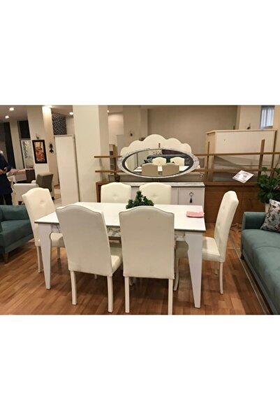 İSTİKBAL Beyaz Lorena Yemek Odası Kitabeli Açılır Kapanır Masa ve Sandalye 6'lı