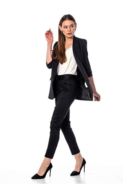 NATUREL Kadın Siyah Kolu Büzgülü Blazer Ceket