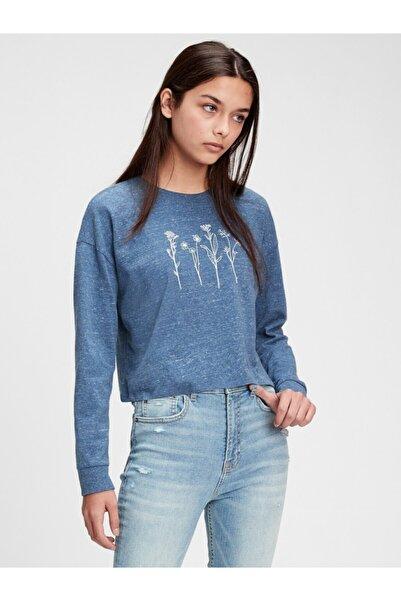 GAP Genç Kız Mavi Teen Organik Grafik T-shirt