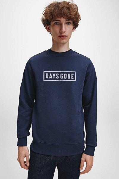 QIVI Days Gone Logo Baskılı Indigo Mavi Lacivert Erkek Örme Sweatshirt Uzun Kol