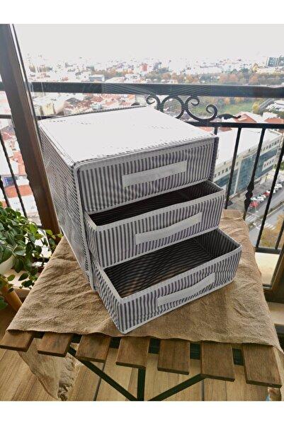 Keven Home Üç Bölmeli Çekmece - Çok Amaçlı Çekmece - Çorap & Iç Çamaşır Vb. Organizeri 32x32x32cm - Gri