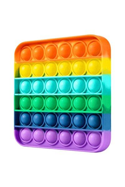 Toys Pop It Push Bubble Fidget Özel Pop Duyusal Oyuncak Zihinsel Stres ( Rainbow Renk, Kare )