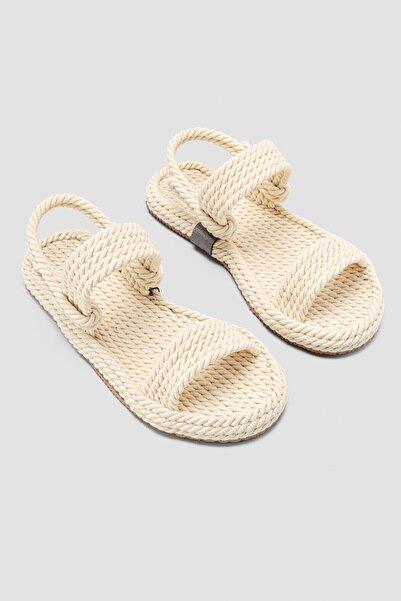Limoya Kadın  Ekru Halat Sandalet Basic