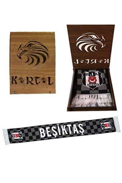 Beşiktaş Damalı Dokuma Kaşkol Atkı-hediye Kartal Ahşap Kutulu