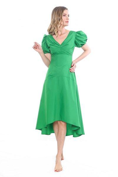 Ayşe Brav Önü Kısa Arkası Uzun Yeşil Elbise