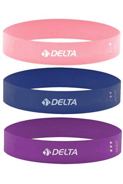 Delta 3'lü Aerobik Bandı Lateks Bant Seti Pilates Yoga Lastiği Seti