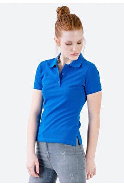 Kadın Mavi Polo Yaka Yırtmaç Detaylı Triko T-shirt