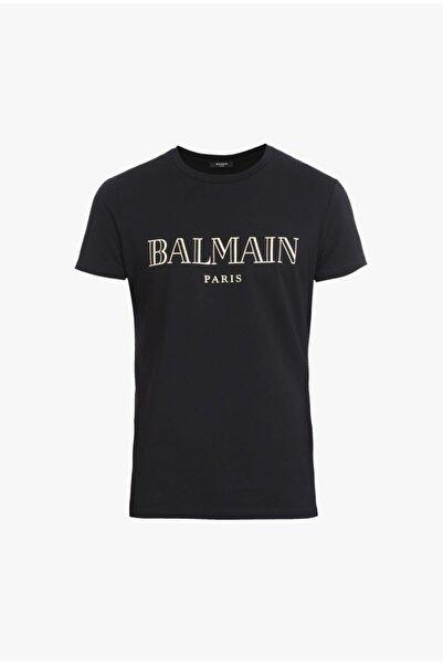 BALMAIN Erkek Siyah Logo Print T-shirt