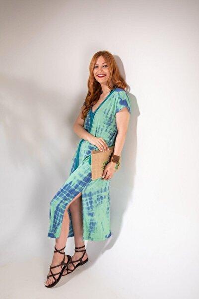 MYSUMMERBLUE Kadın Misty Yeşil Batik Uzun Elbise