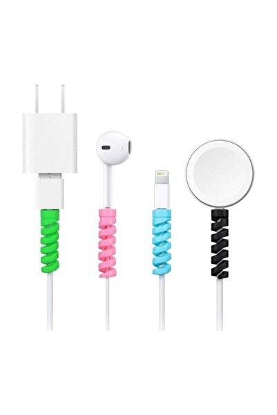 HyperCep Spiral Kablo Koruyucu Silikon Set Şarj Kablosu Kulaklık Kablosu Koruyucu