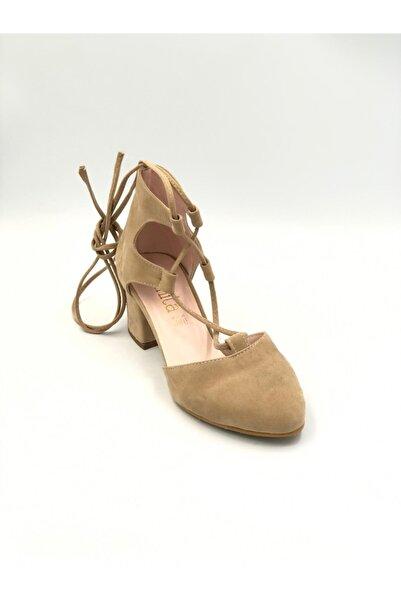 Sanita Kadın Yazlık Kısa Topuk Ayakkabı Ten Süet 0002