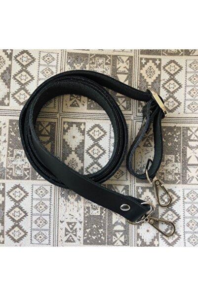Alfa Tasarım Hakiki Deri Çanta Sapı Gümüş (120 CM) - Siyah Rengi