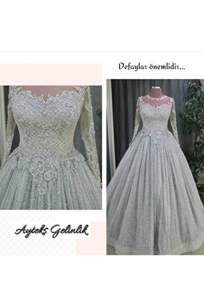 AYTEKS GELİNLİK Kadın Gümüş Renkli Nişan Elbisesi