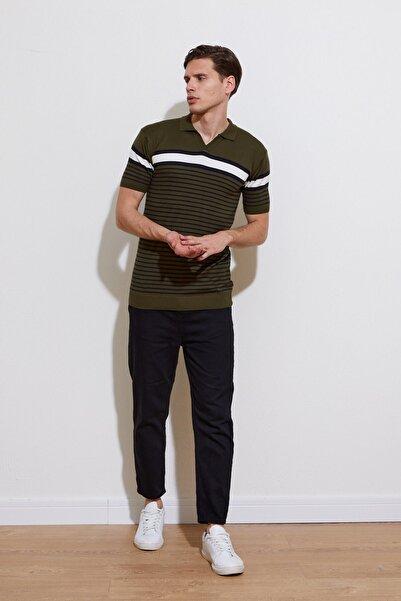 Karpefingo Erkek Haki Çizgili Polo Yaka Triko T-shirt