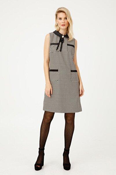 Ekol Kadın Siyah Rozet Detaylı Torba Cepli Elbise 6054057