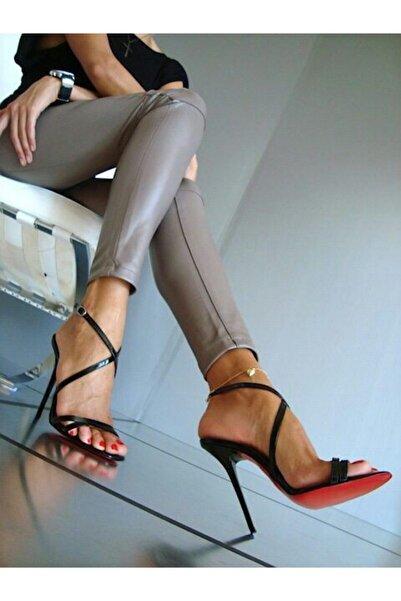 allessa milano Kırmızı Tabanlı  Yüksek Topuklu Siyah Rugan Klasik Topuklu Ayakkabı 14 cm Alm-1015