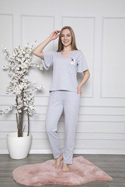 FAWN Kadın Kısa Kollu Volanlı V Yaka Pijama Takımı Gri Homewear Ev Kıyafeti 5183