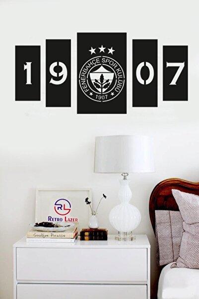 RetroLazer Siyah Fenerbahçe 5'li Ahşap Lazer Mdf Duvar Dekoru Tablosu
