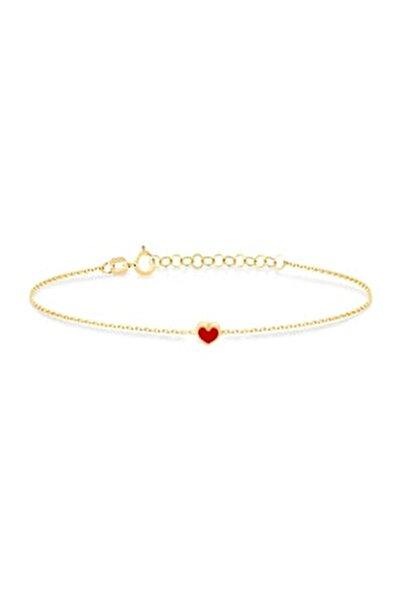 14 Ayar Altın Mini Kırmızı Kalp Bileklik