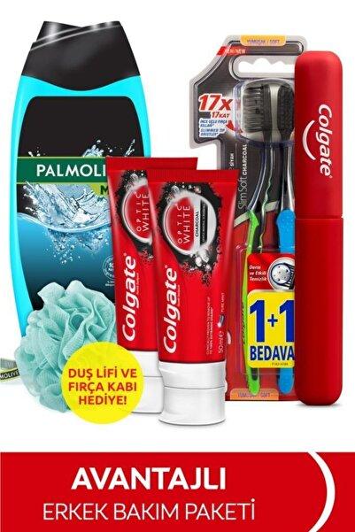 Colgate Diş Macunu 50 Mlx2,yumuşak Diş Fırçası,palmolive Duş Jeli 500 Ml+fırça Kabı&duş Lifi