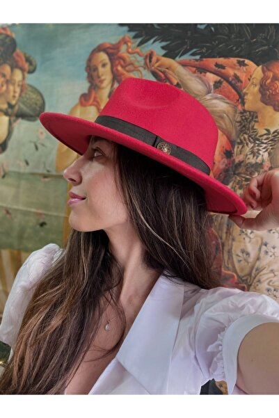 GLAREEZ Kırmızı Fötr Kovboy Şapka
