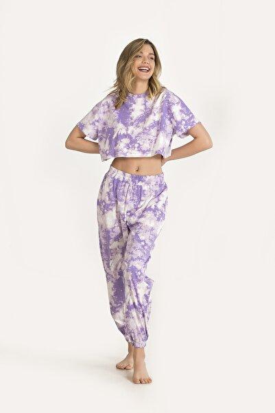 NBB Kadın Lila Baskılı Pijama Takımı 67165