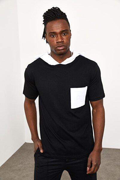 XHAN Siyah Kapüşonlu Önü Cepli T-shirt 1yxe8-44965-02