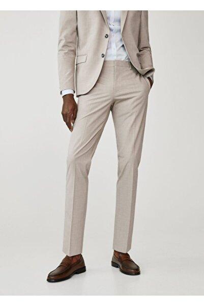 MANGO Man Erkek Bej Dar Kesimli Takım Pantolon