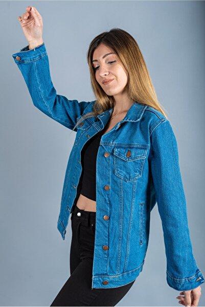 LES PEPES Kadın Orta Mavi Denim Ceket