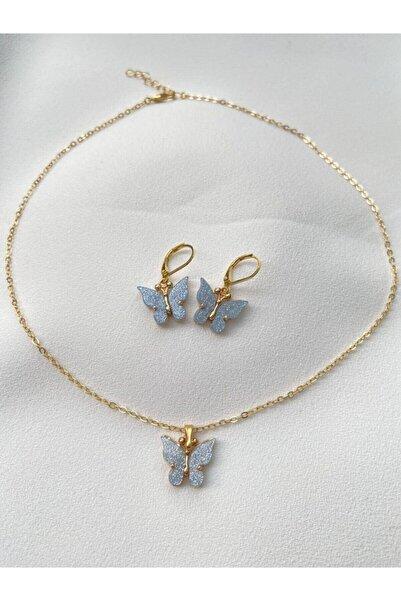 shey butik Kadın Mavi Kelebek Kolye Küpe Seti Kombin