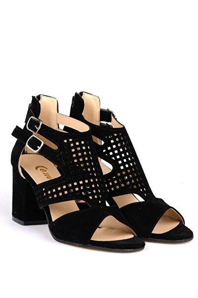 Emay Kadın Siyah Kafes Desenli Topuklu Ayakkabı
