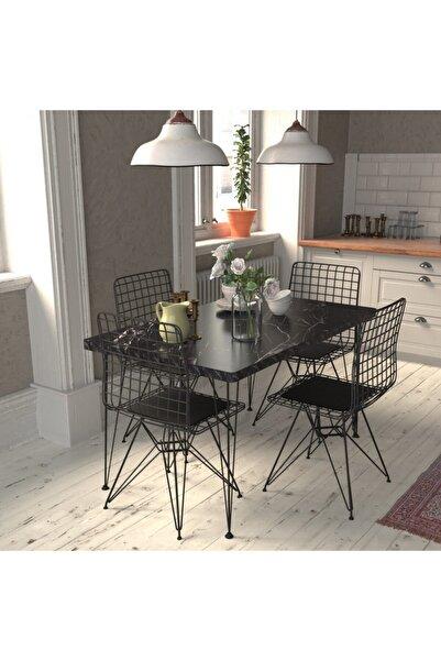 Cosargroup Masa Sandalye Takımı Mermer Desen 120x70 Cm Masa 4 Sandalye Seti