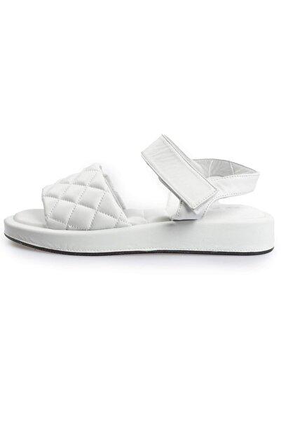 Flower Kadın Beyaz Deri Kapitoneli Sandalet