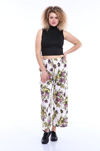 KaSheHa Kadın Ekru Çiçek Desenli Bağcıklı Bol Paça Saten Büyük Beden Pantolon